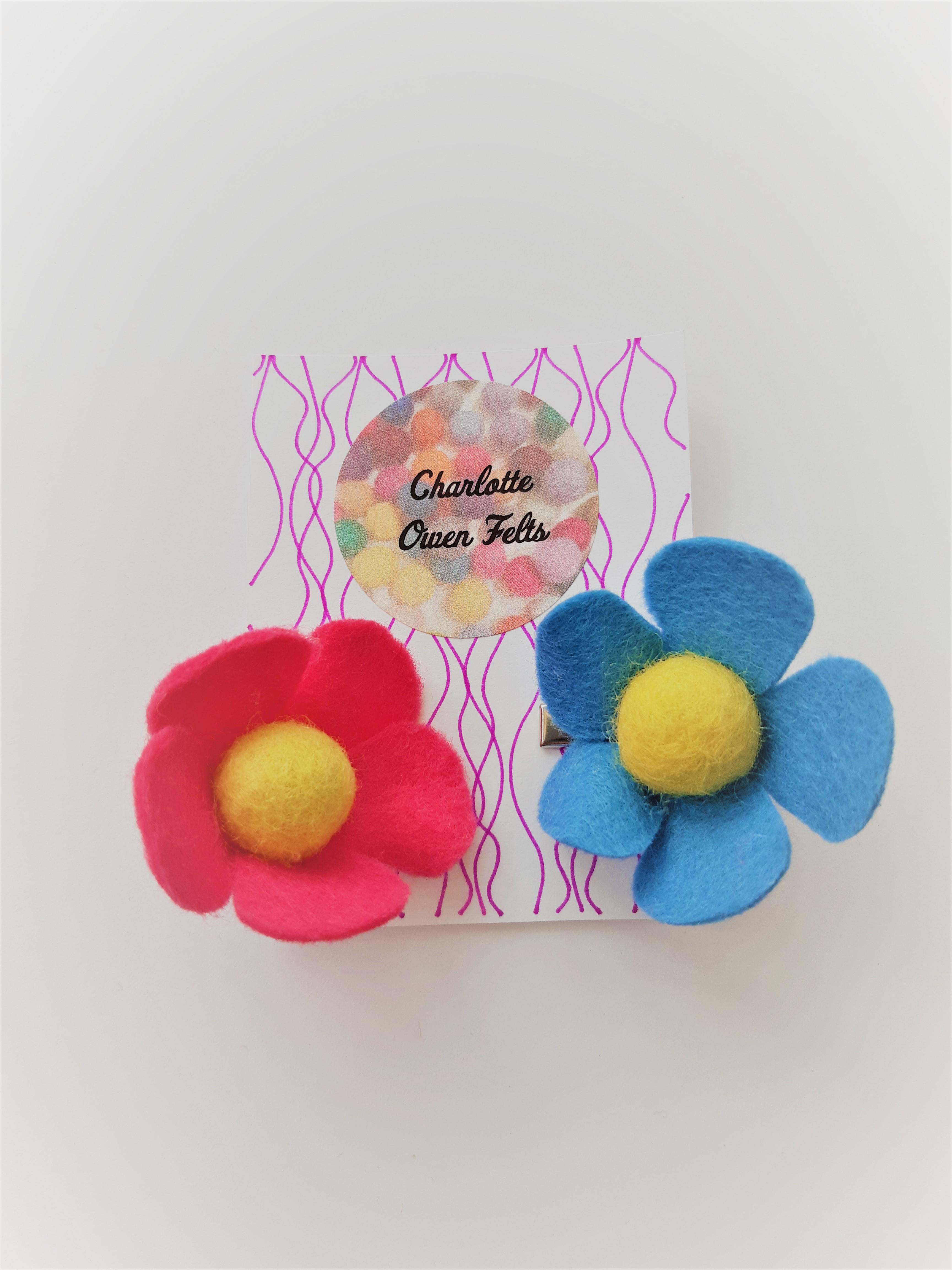 pink-blue-hair-clip-flower